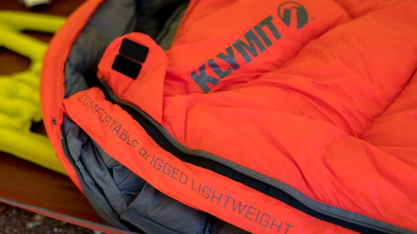 Close up of a Klymit KSB zero degree sleeping bag
