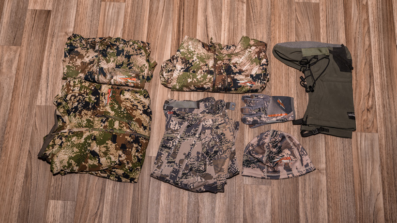 Clothing packed for backcountry mule deer hunt