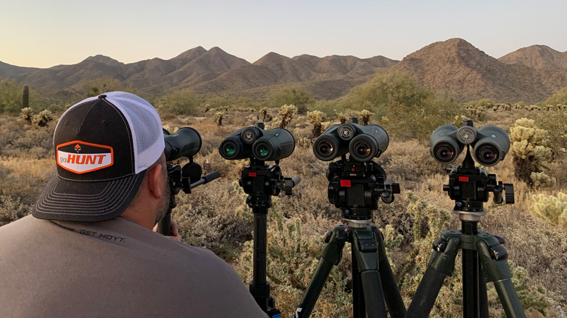 Cody Nelson testing out the new Vortex Diamondback HD 15x56 binoculars