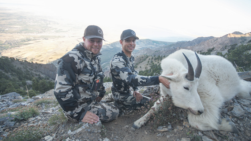 Cody Wetmore and Matt Comer with the Utah mountain goat