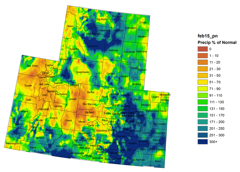 Colorado February weather precipitation 2015