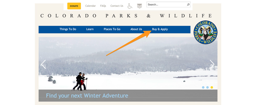 Colorado Parks and Wildlife homepage to look up points
