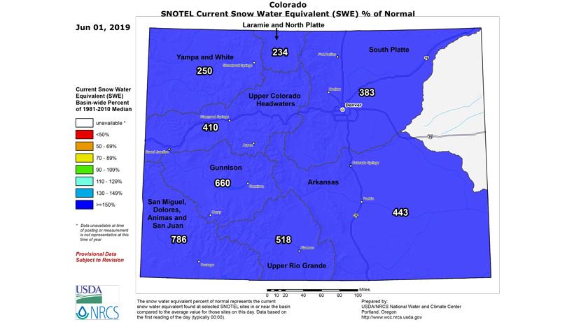 Colorado snow water equivalent map June 2019