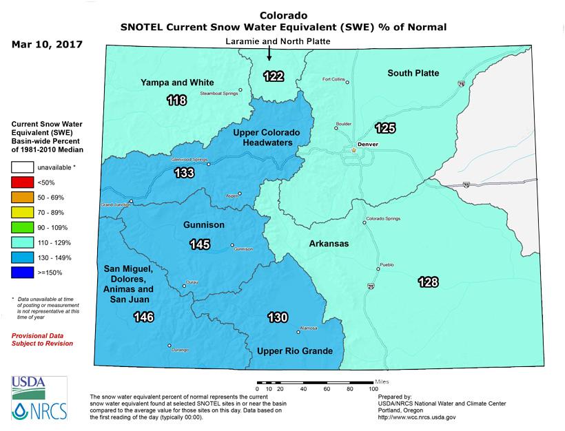 Colorado snow water equivalent March 2017