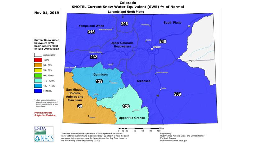 Colorado snow water equivalent November 2019