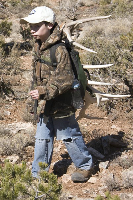 Colton packing out elk shed antler