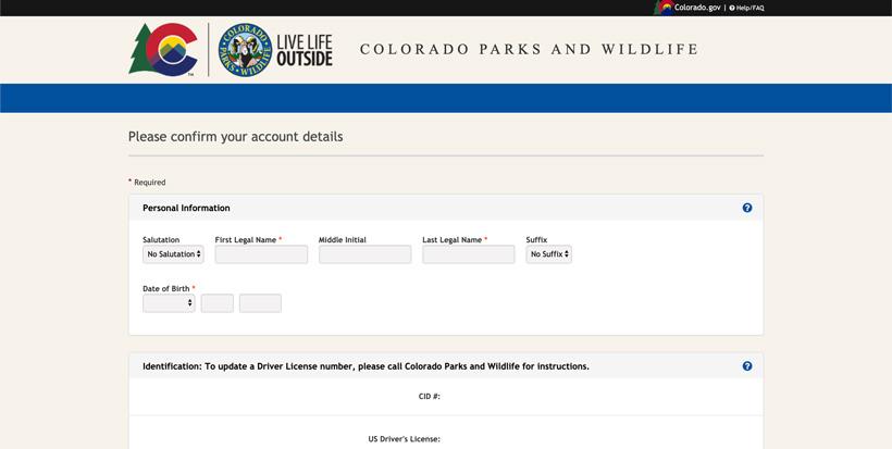 Confirming Colorado account details
