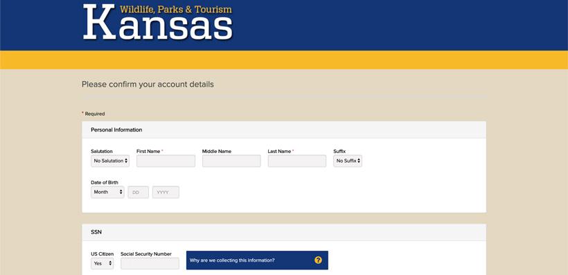 Confirming Kansas account information