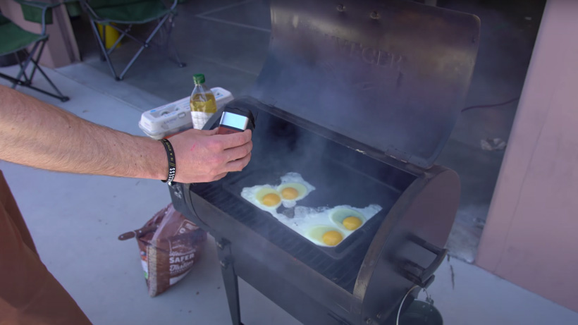 Cooking eggs on Traeger pellet grill