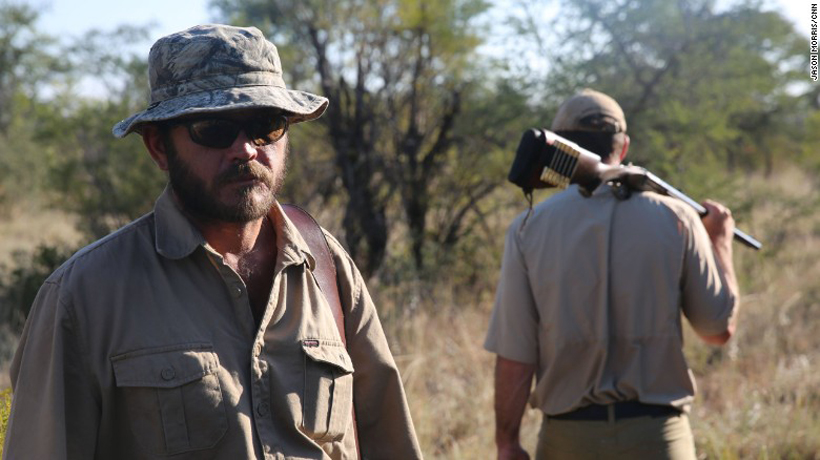 Corey Knowlton with his guide in Namibia