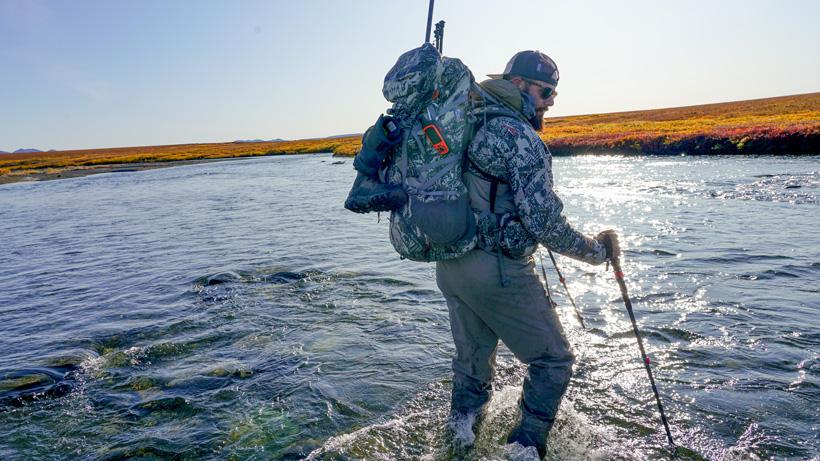Crossing stream in Alaska