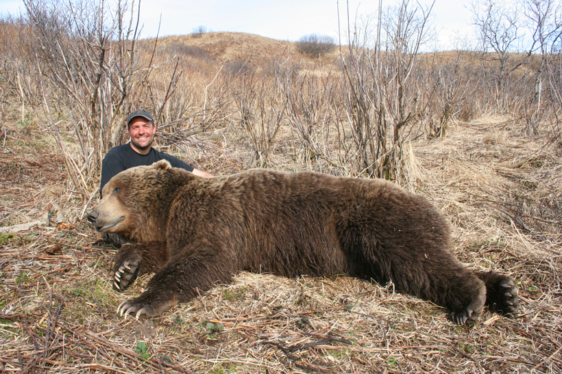 Dave Loescher with his brown bear