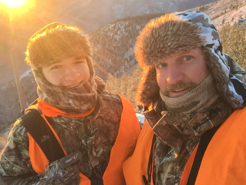 David Zavetsky and his son hunitng in cold temeratures
