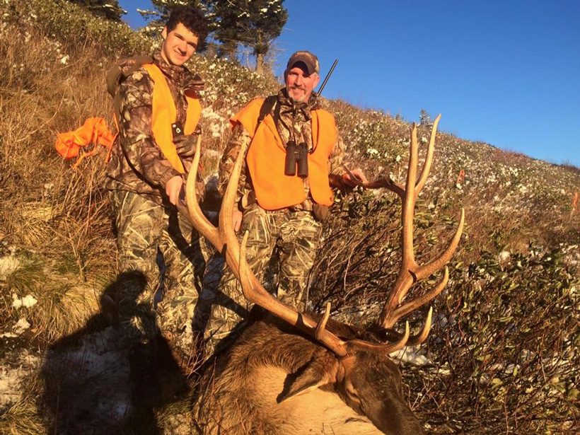 David Zavetsky and his son with their 2015 Montana bull elk