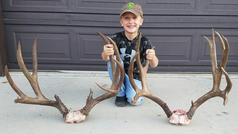 Dawson with both of the Wyoming mule deer racks