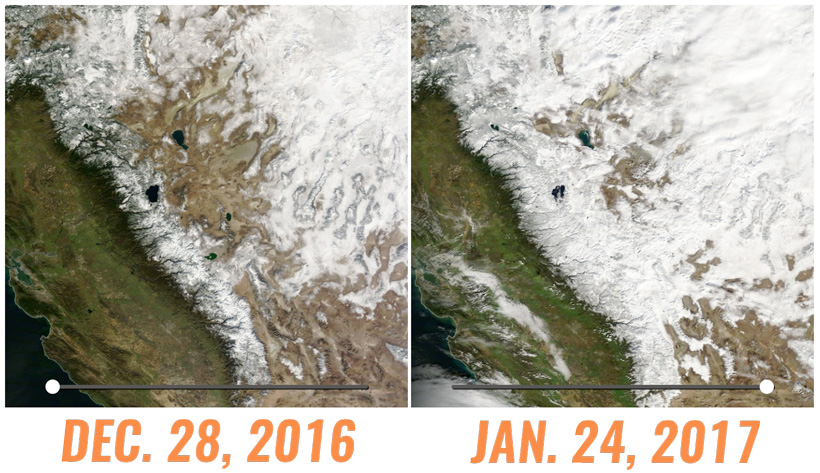 December and January Snowpack in California and Nevada