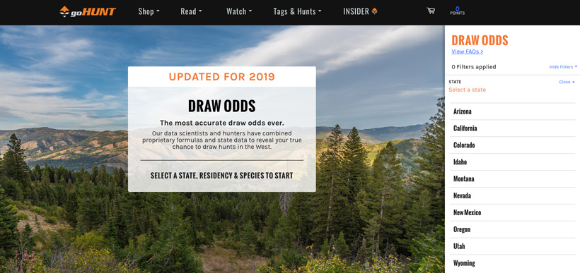 Draw odds updated for 2019 on goHUNT