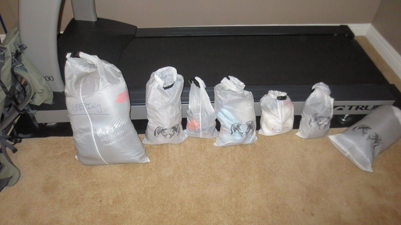 Dry bags for organizing gear