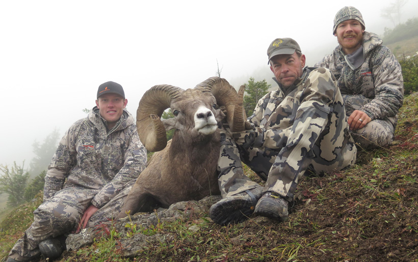 Dustin Roe and Nathan French guided client to this Rocky mountain bighorn sheep