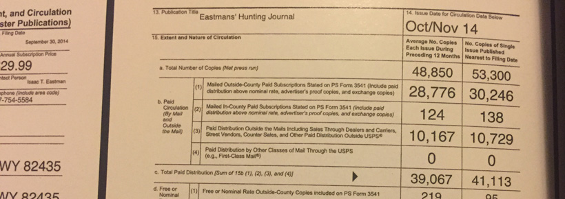 Eastmans Hunting Journal 2014 magazine circulation document