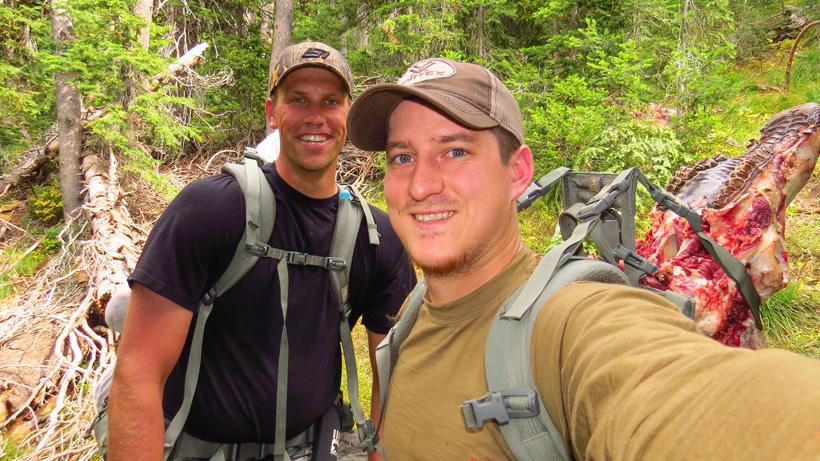 Elk meat packout hunting selfie