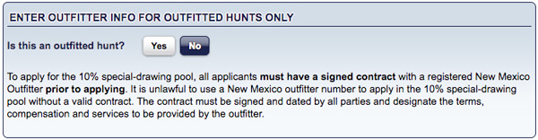 Entering the New Mexico Guided Draw