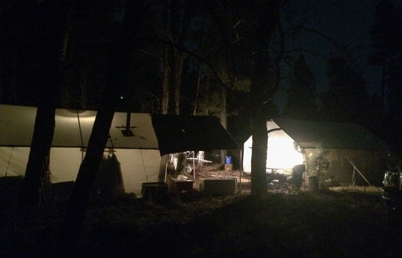 Evening wall tent camp in Montana