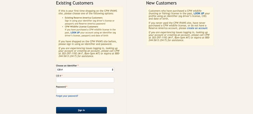Existing Colorado customer login page