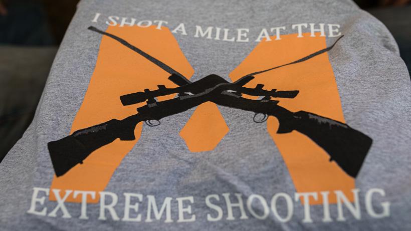 Extreme shooting school mile long shot t-shirt