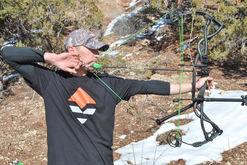 Eyes closed at full draw with no sight on the bow