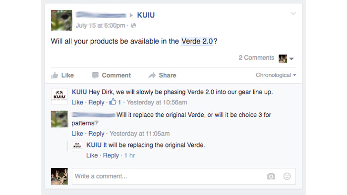 Facebook comment about KUIU Verde 2.0