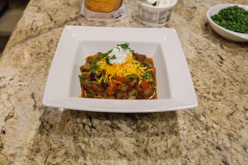 Finished bowl of elk chili