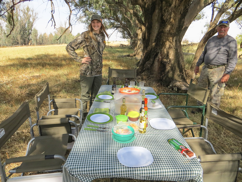 First time on Africa hunt eating from table