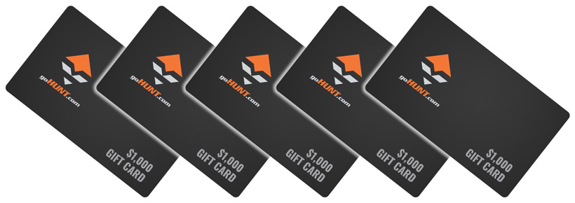 Five goHUNT gear shopping spree gift cards