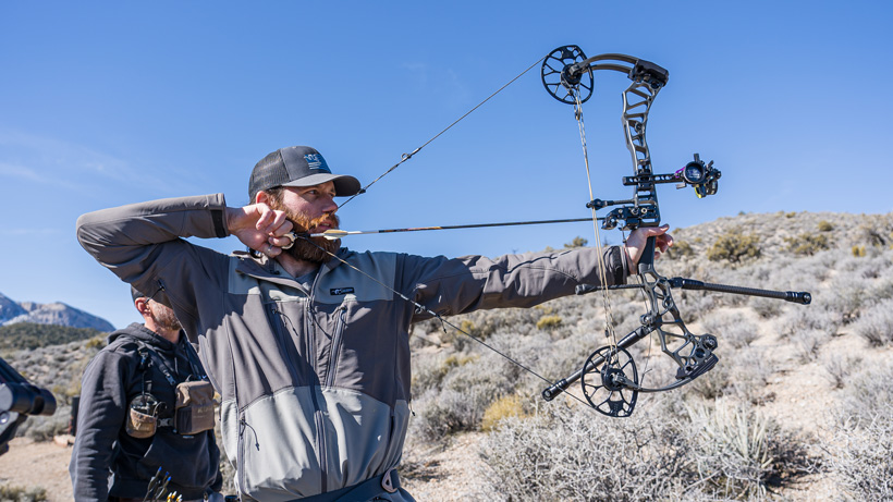 Full draw with Mathews Traverse bow