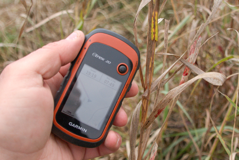 Marking blood spots with a GPS