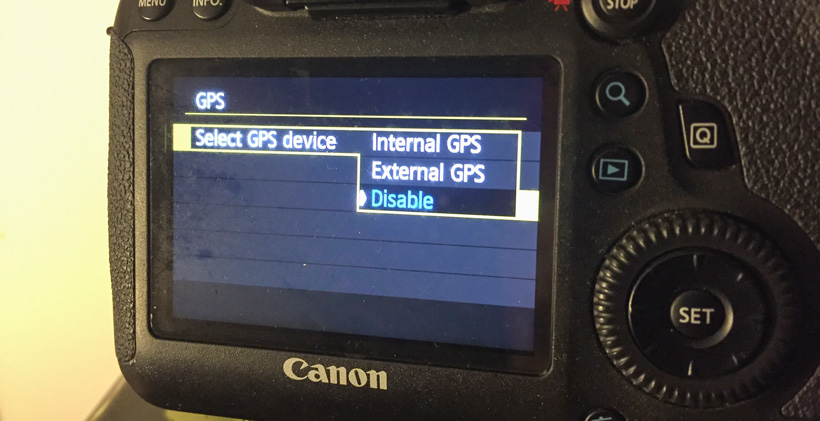 GPS location information on digital camera
