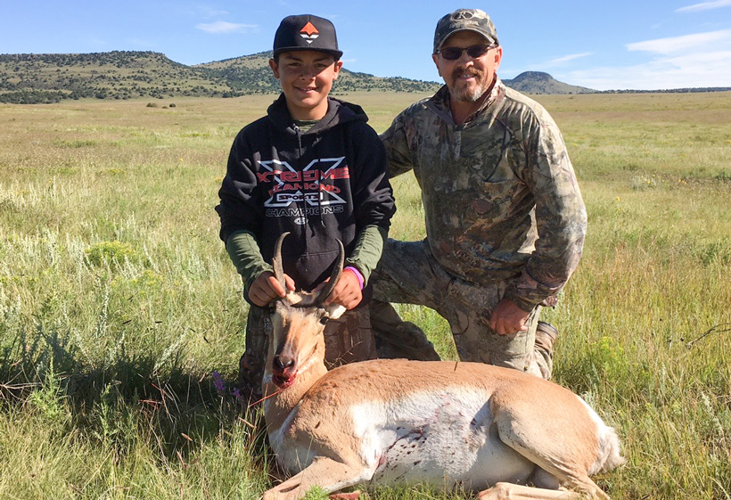 Gannon and Mark Crump with their New Mexico antelope buck