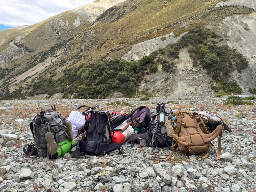 Gear flown into the backcountry of New Zealand