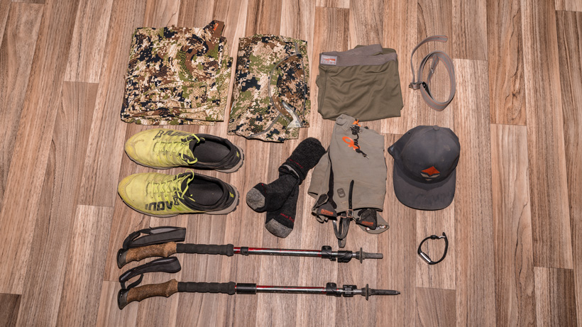 Gear used for backcountry mule deer hunt