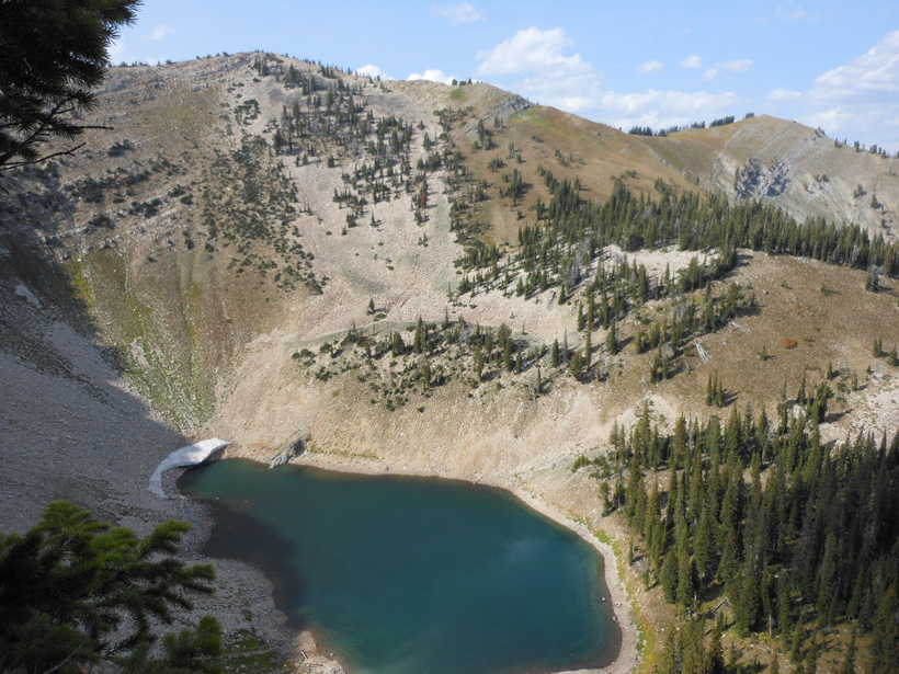 Glassing for mule deer above a high mountain lake
