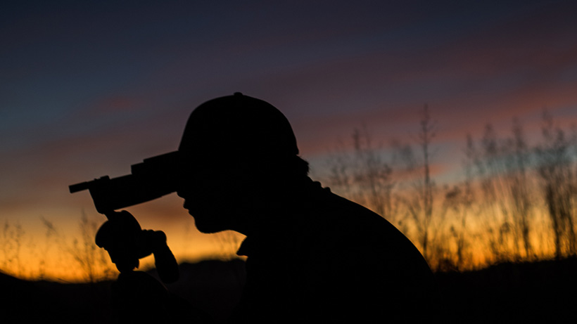 Glassing for Coues deer with an Arizona sunset