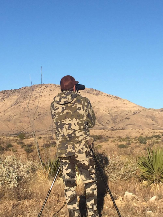 Glassing off a tripod for bison in Mexico