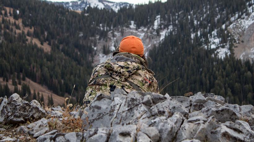 Glassing for late season elk in dark timber