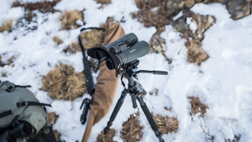 Glassing for deer with 12 power binoculars off a tripod