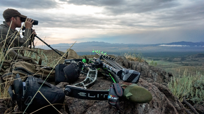 Glassing for elk in Nevada with Elite bow