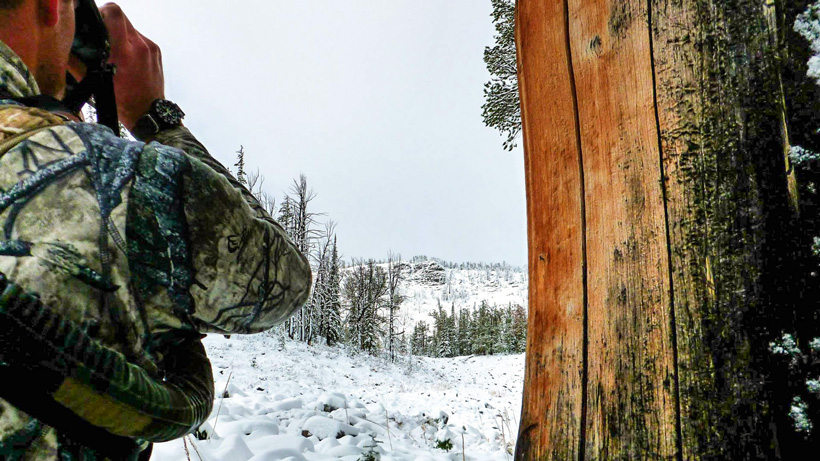 Glassing for elk in the snow