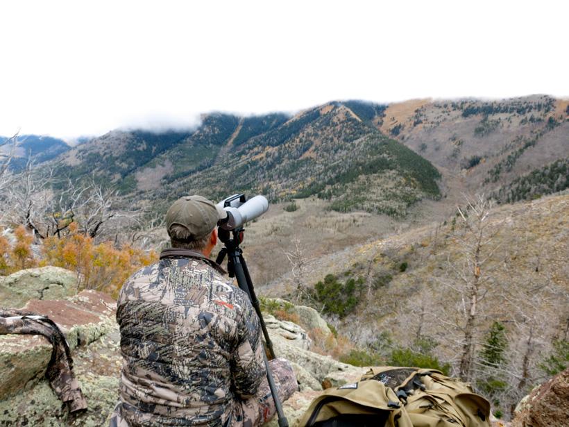 Glassing for mule deer in the Henry Mountains of Utah