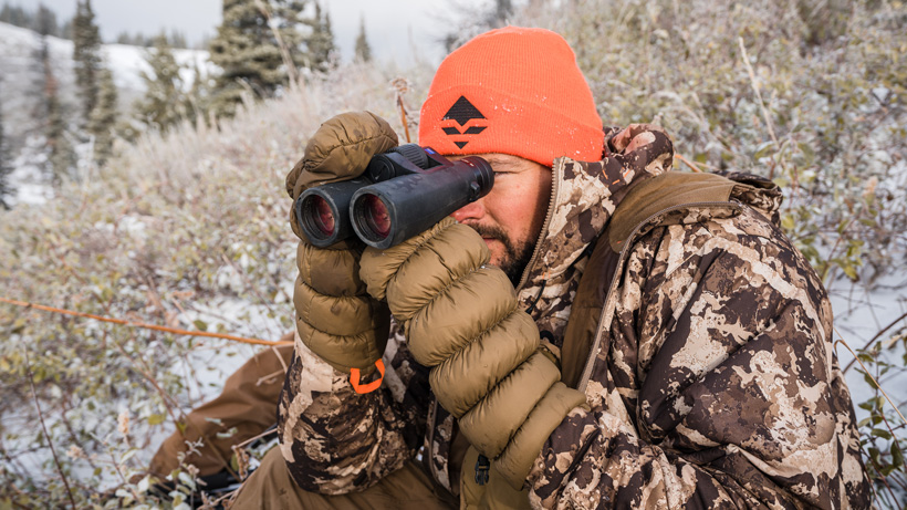 Glassing with First Lite Brooks Down mittens