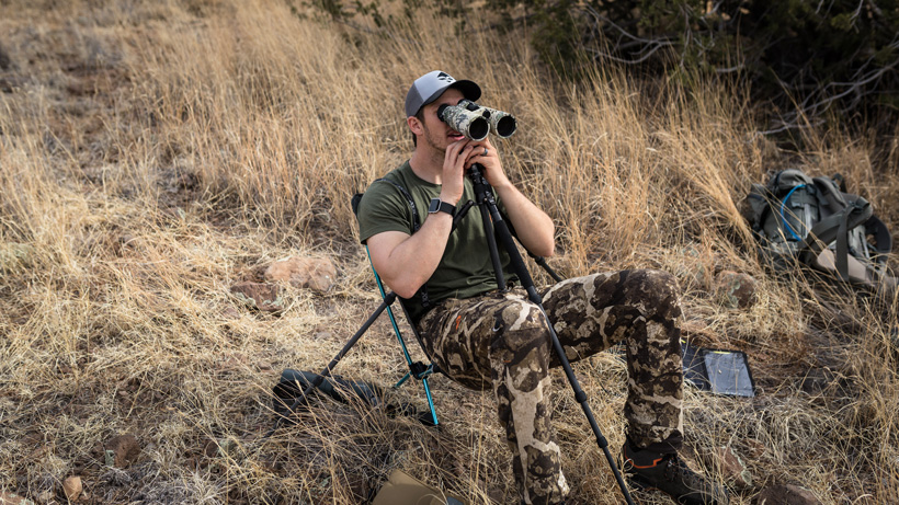 Glassing with helinox chair and 15 power binoculars